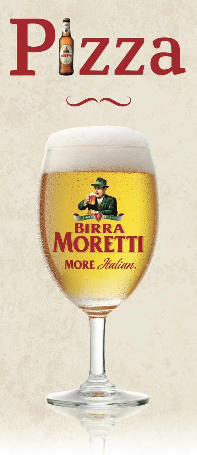 Birra Moretti and Pizza